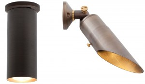 Solid brass down lights comes with your choice of diagonal or full glare guard.