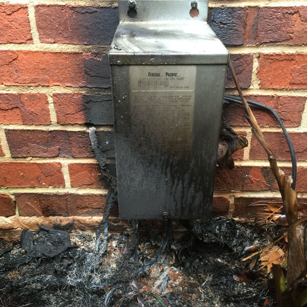 Burned Landscape Lighting Transformer